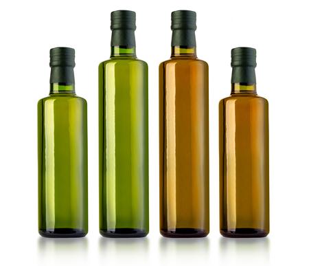 set of bottle of virgin olive oil on a white ground,