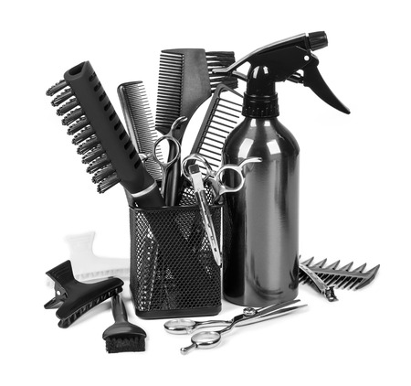 hair dresser: Hairdressing tools on white background