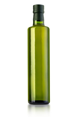 bottle of virgin olive oil on a white ground, pack shots.with clipping path Stockfoto