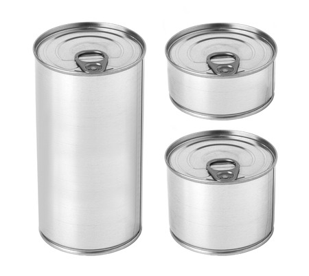 packaging box: Tin can with ring pull for canned food, meat, vegetables, fruits, fish, pickles, sauce, cream. Template ready for your design. Isolated on white background Stock Photo