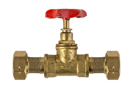 stop gate valve: Copper stop valve on white background with clipping path