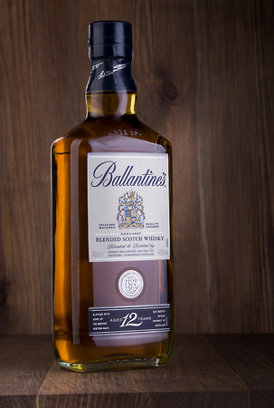 packshot: CHISINAU, MOLDOVA- February 05, 2016: Ballantines is the worlds second highest selling scotch whisky, produced by Pernod Ricard in Dumbarton, Scotland