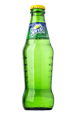 sprite: CHISINAU, MOLDOVA - December 05, 2015: Sprite glass bottle on white background. Sprite is a famous colorless, lemon and lime flavored soft drink, created by the Coca-Cola Company.