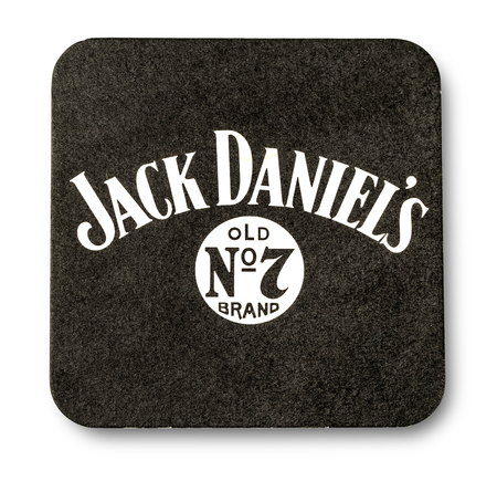 daniels: CHISINAU, MOLDOVA -February 05, 2016: Beermat of Jack Daniels.Jack Daniels is a brand of sour mash Tennessee whiskey that is the highest selling American whiskey in the world.