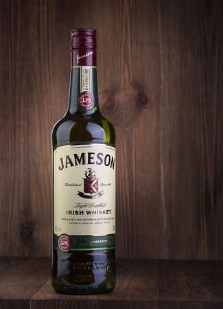whiskey: CHISINAU, MOLDOVA - February 05, 2016: Photo of bottle of Jameson whiskey.Jameson is a blended Irish whiskey produced by the Irish Distillers subsidiary of Pernod Ricard.