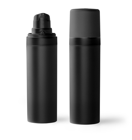 riffle: black plastic bottle  with fine mist ribbed sprayer for cosmetic, perfume, deodorant, freshener Stock Photo