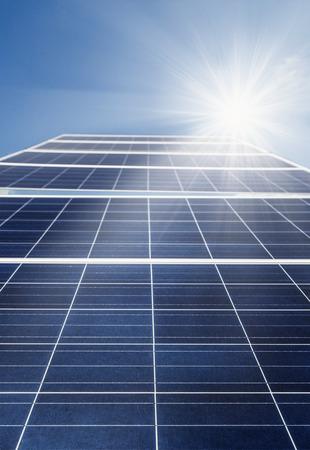 energy grid: Solar cell power energy grid technology in sky background design