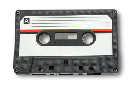 cintas: Cinta de cassette audio aislado en fondo blanco