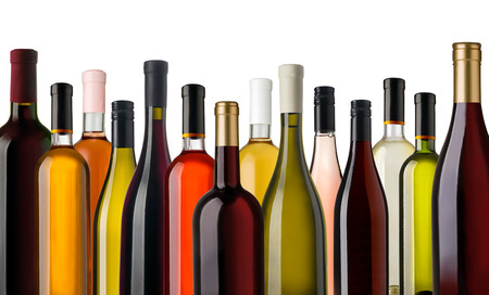 Some wine bottles in front of white background Imagens - 55216124