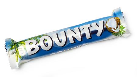CHISINAU, MOLDOVA -December 25, 2015: Bounty chocolate bar. Studio shot, isolated on white background
