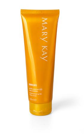 suncare: CHISINAU, MOLDOVA - March 14, 2016;  tube of Mary Kay Suncare  Cream. Mary Kay is an American owned company selling cosmetics