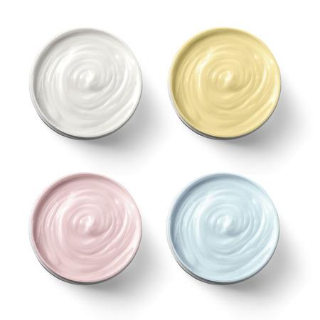 Ensemble de 4 crème cosmétique différent isolé sur blanc