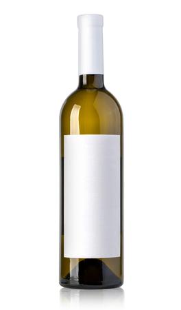 reflective: bottle of white wine on isolated reflective white background