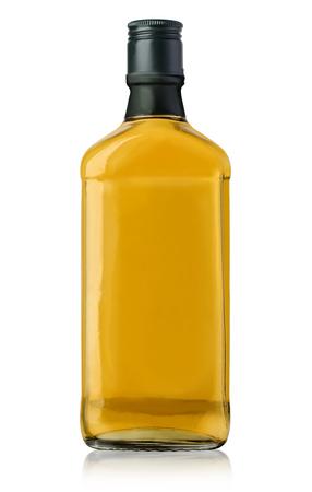 rich flavor: whiskey bottle blank on white background