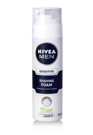 sensitive skin: CHISINAU, MOLDOVA - March 06, 2016: Can of Nivea Men. Shaving Gel. Nivea brand owned by the German company Beiersdorf AG.