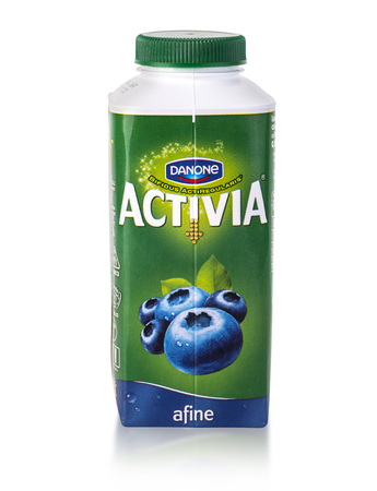 natur: CHISINAU, MOLDOVA - March 25, 2016. Danone Atctivia Natur. Activia is the only probiotic yogurt product made with probiotic culture, bifidus regularis, designed to improve digestive health.