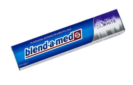 lasting: CHISINAU, MOLDOVA - MARCH 25, 2016. Blend-A-Med toothpaste, 3D White Fresh, Cool Water made by Procter & Gamble. Blend-A-Med 3D White provides tri dimensional whiteness and longer lasting freshness.