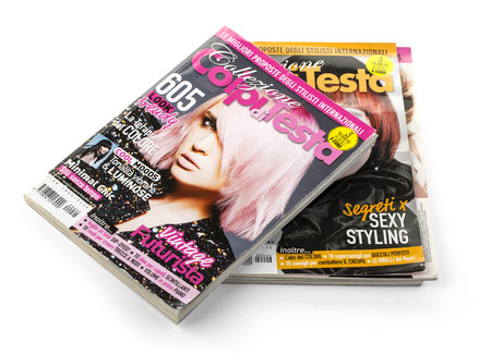 CHISINAU, MOLDOVA - March, 25, 2016: Stack of magazines Colpi de Testa, The first monthly pocket of Italian styling. 1000 look, from classic to contemporary modern trends, as well as tips for a perfect hairstyle.