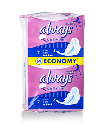 moldova: CHISINAU, MOLDOVA - March 25. 2016; Pack of 14 Allways Ultra Sanitary Pads on a white background Editorial