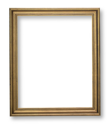 tableau: wooden frame on white background with clipping path