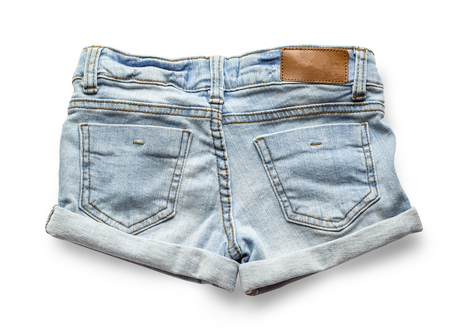 roughly: Ripped handmade jeans shorts isolated on white background. with clipping path