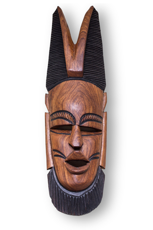 hand carved: African wooden mask, hand carved with clipping path