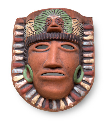 mayan culture: Indian Mayan Aztec ceramic painted mask with feather isolated on white with clipping path