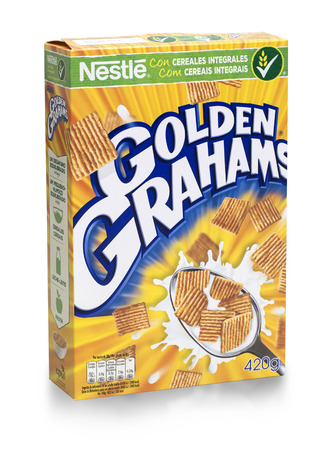 cereal box: MALLORCA, SPAIN, Mai 06, 2016.: Box of Golden Grahams wheat cereal on white background, Golden Grahamswheat is made by Nestle Editorial