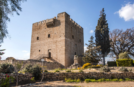 stratus: Paphos, Cyprus - March 20,2015: Kolossi Castle,strategic important fort of Medieval Cyprus,fine example of military architecture,originally built in 1210 Editorial