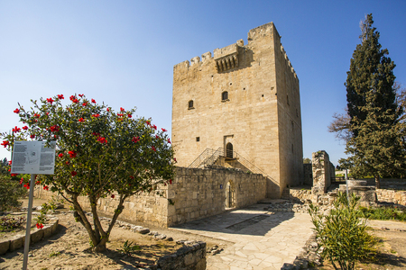 the place is important: Paphos, Cyprus - March 20,2015: Kolossi Castle,strategic important fort of Medieval Cyprus,fine example of military architecture,originally built in 1210 Editorial