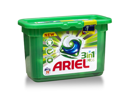 ariel: Mallorca, Spain - April 19, 2016: Detergent for laundry Ariel on a white background.