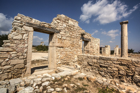 2 5: Paphos, Cyprus - April 20, 2015: The Sanctuary of Apollo Hylates, Cyprus. The sanctuary is located about 2,5 kilometres west of the ancient town of Kourion along the road which leads to Pafos.