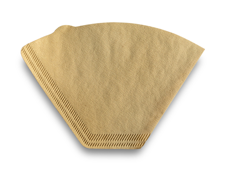 new filter: Cone-type coffee filter, made of unbleached paper with clipping path Stock Photo