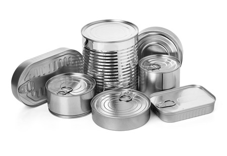 metal cans on a white background.with clipping path 스톡 콘텐츠