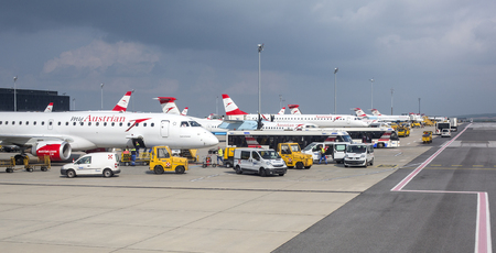 long haul journey: Vienna, Austria- May 11, 2016 Austrian Airlines  preparing for take-off in Vienna airport. Vienna airport is home for Austrian Airlines and one of biggest european hubs.