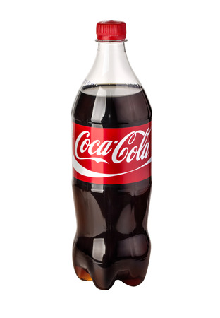Chisinau, Moldova - March 26, 2016: Photo of Coca-Cola plastic bottle Isolated on white Background. Coca Cola is the most popular carbonated soft drink beverages sold around the world