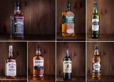 lawson: CHISINAU, MOLDOVA- February 05. 2016. Photo of bottle of Jack DanielsTullamore dew, William Lawson,Jim Beam, Teachers, Jameson, Long John whiskey