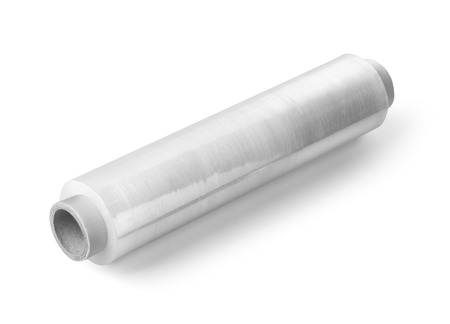 polythene film: Roll of wrapping plastic stretch film on white background Stock Photo