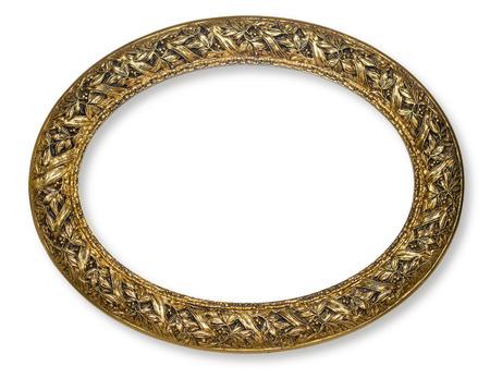 marcos redondos: marco de oro de la vendimia, aislado en blanco con el camino de clippin g