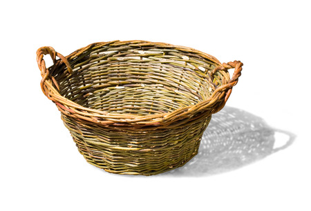 willow fruit basket: large empty basket for harvesting fruit or grapes isolated on white with cliupping path