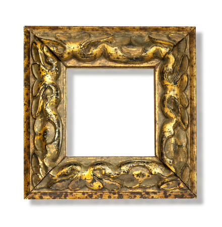 Gold frame,wooden frame for painting or picture on white background with clipping path, isolated