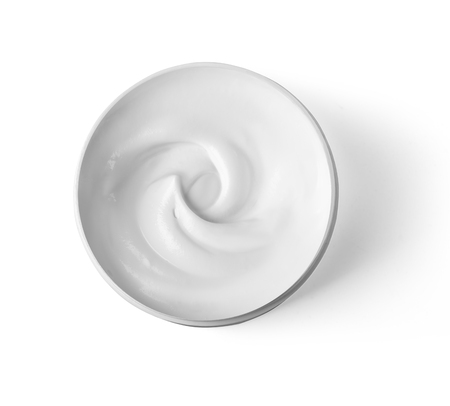 Hygienic cream, top view isolated on white background