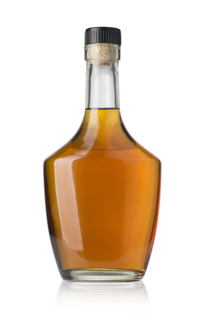 whiskey bottle isolated over a whte background with clipping path Stock Photo