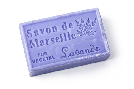 lavande: Chisinau, Moldova - March 25, 2016:  La Maison du Savon Marseille Lavande  scented soap isolated on white background with clipping path Editorial