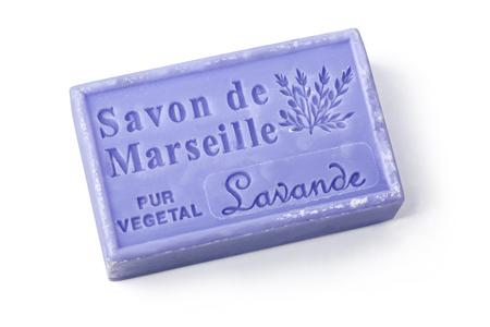 Chisinau, Moldova - March 25, 2016: La Maison du Savon Marseille Lavande scented soap isolated on white background with clipping path