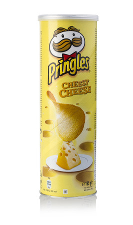 stackable: Chisinau, Moldova - August 18, 2016: Pringles  potato chips isolated on white