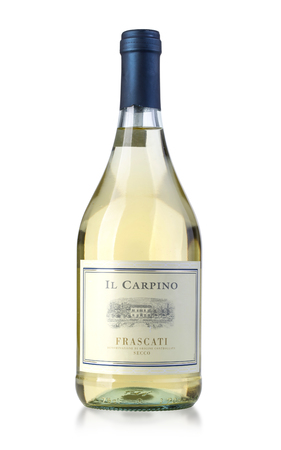 Chisinau, Moldova 27 July 2016: Bottle of white wine  Most Popular Frascati wines: the region, the grapes,  for the wines.Lazios great wines, Italy
