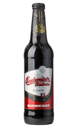 budweiser: Chisinau, moldova - December 26, 2016;  A single bottle of Budweiser on white with clipping path. From Anheuser-Busch InBev, Budweiser is one of the top selling domestic beers in the United States.