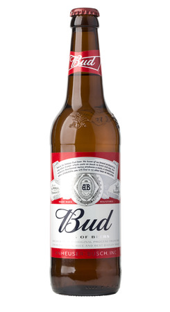 Chisinau,Moldova - December 26, 2016;  A single bottle of Budweiser on white with clipping path. From Anheuser-Busch InBev, Budweiser is one of the top selling domestic beers in the United States.