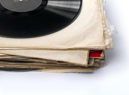 entertainment event: Collection of used vinyl records. Isolated on white. Stock Photo